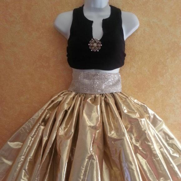 Sebrina Love / Sebrina Love Bridals Dresses & Skirts - Custom Order Gold Lame' & Black Tutu Skirt Set